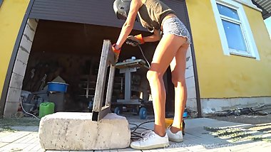 DIY Floating Table 3.1 - Welding 4k HD Teaser 1 - downblouse and nip slip (Music)