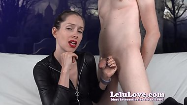 Catsuit babe strokes his cock while bisexual femdom'ing you SPH and CEI to his cumshot - Lelu Love