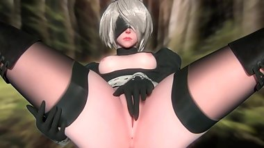 Nier Automata, Android 2B Part 4 3d Animation Compilation [10 min + Full HD]