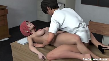 Hentai MILF teacher cums over and over