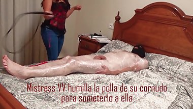 Hit her cuckold's cock HARD to humiliate him FEMALE DOMINATION