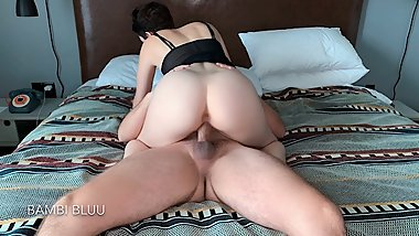 Real Hot Couple Have Sensual Morning Hotel Sex POV